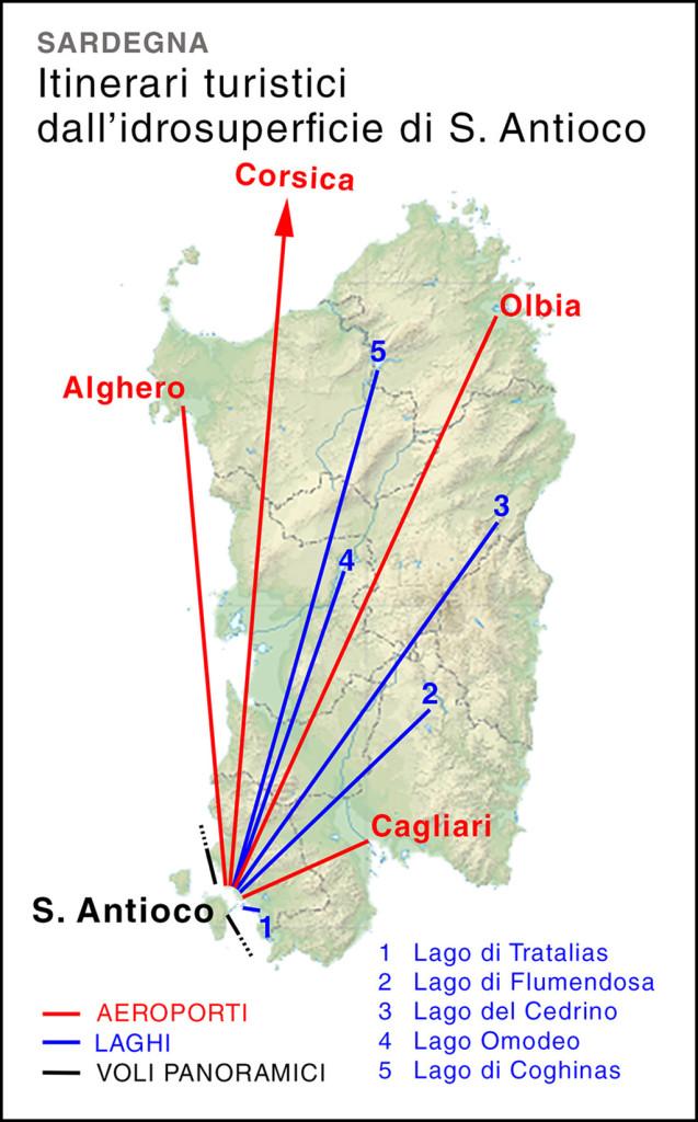 Routes from S. Antioco, Sardinia.