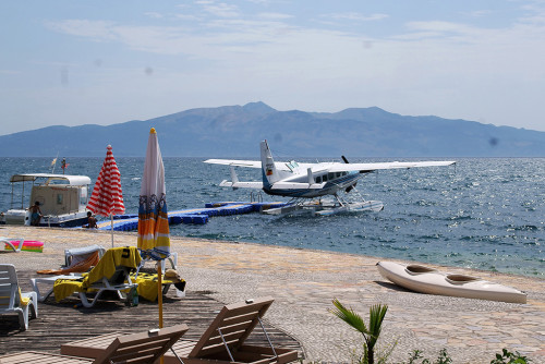 The Cessna C208 at a dock in Southern Italy.