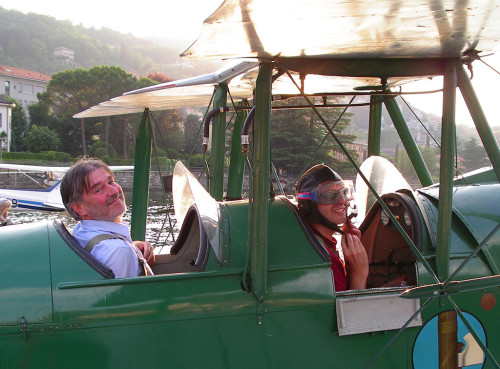 Baj at the controls of the vintage Caproni CA 100, the oldest seaplane in flying conditions in the world.